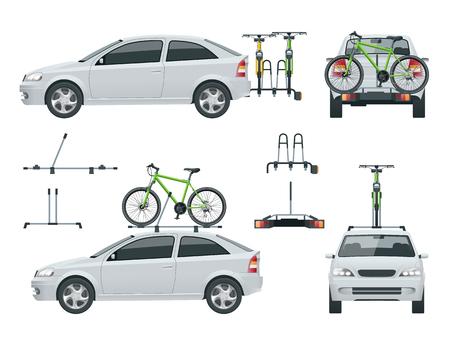 자동차는 지붕 위의 자전거와 밴 뒤쪽의 자전거를 운반합니다. 측면보기 및 후면보기입니다. 플랫 스타일 벡터 일러스트 레이 션 흰색 배경에 고립. 스톡 콘텐츠 - 93160499
