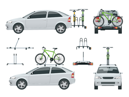 Car is transporting bicycles on the roof and Bikes Loaded on the Back of a Van. Side view and back view. Flat style vector illustration isolated on white background.