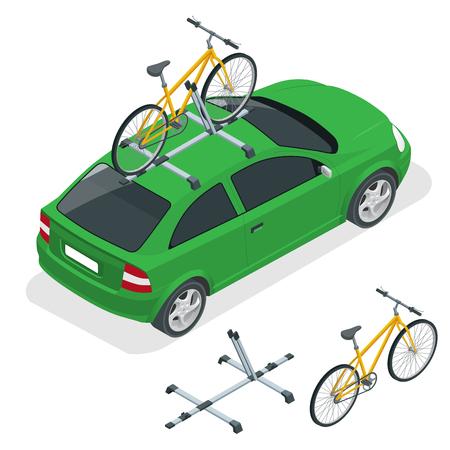 L'auto isometrica trasporta biciclette sul tetto. Trasporto bici. Illustrazione vettoriale di stile piano isolato su priorità bassa bianca