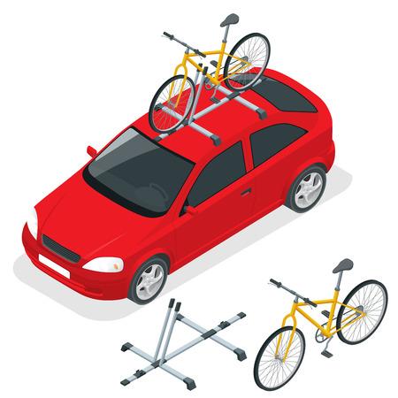 L'auto isometrica trasporta biciclette sul tetto. Trasporto bici. Illustrazione vettoriale di stile piano isolato su priorità bassa bianca Vettoriali