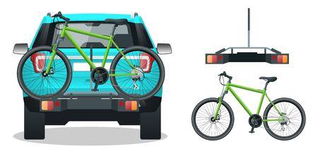 Fahrräder geladen auf dem Rücken eines SUV . Rückansicht . Flache Vektor-Illustration isoliert auf weißem Hintergrund Vektorgrafik
