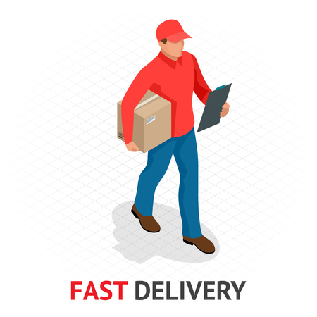 Isomeric fast delivery concept. Delivery man in red uniform holding boxes and documents. Courier order, worldwide shipping. Fast and Free Transport. Vector illustration