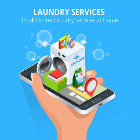 Isometric Woman hand using smartphone booking Online Laundry Service. Book Online Laundry Services at Home concept, App on the screen.