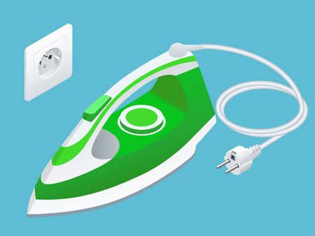 Isometric steam iron and power socket on blue background.