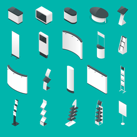 Isometric set of promotional stands or exhibition standands, handout on blue background isolated vector illustration. Illustration