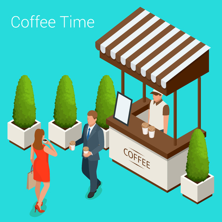 Street cafe concept. Couple in a street cafe. Isometric vector illustration