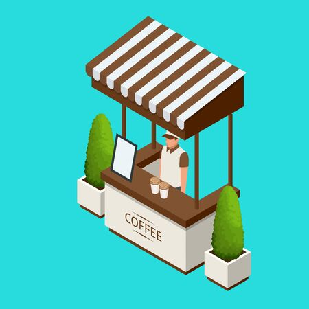 Street cafe Promotion Stand or exhibition standand, handout on blue background isolated vector illustration Illustration