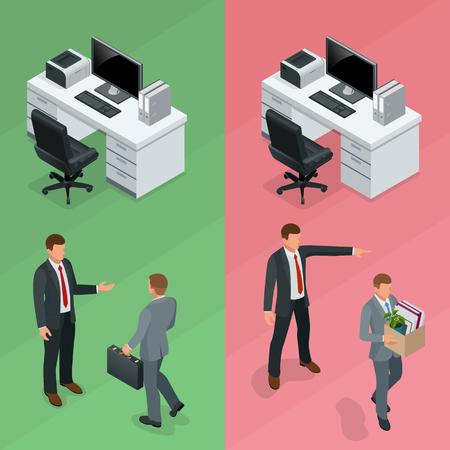 Isometrischer Geschäftsmann wird in einem Büro und Mitarbeiter aus dem Job Konzept ist . Vektor-Illustration
