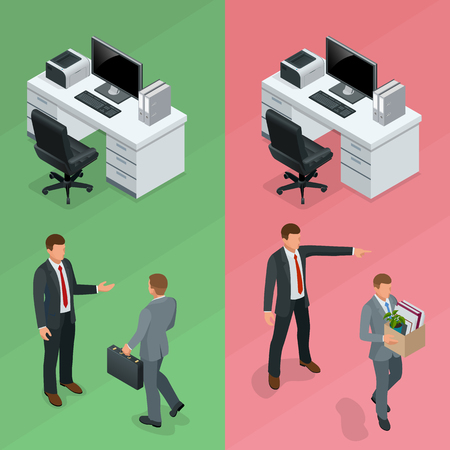 Isometric businessman is hired in an office and employee is fired from his job concept. Vector illustration