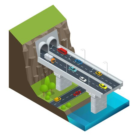 Isometric Modern Road Tunnel in the Mountain. Highway with tunnel vector isolated illustration