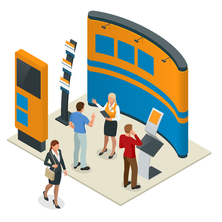 Werbemessestände Mockup 3D-Komposition für eine Personalagentur oder Reiseagenturen. Vektorisometrische Abbildung Vektorgrafik