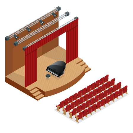 Isometric concert stage and black grand piano at spot light. Podium concert stage. Performance show entertainment, scene and event. Illustration