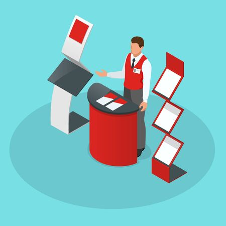 Isometric set of promotional stands or exhibition stands including display desks shelves and people with products and handout