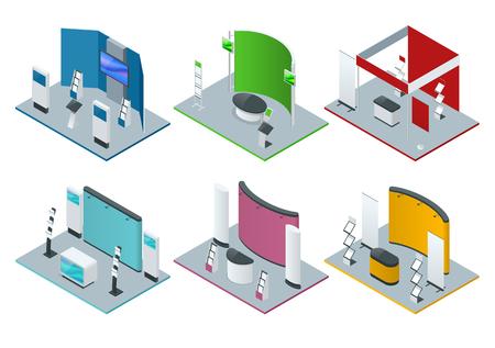 Ensemble isométrique de stands promotionnels ou de stands d'exposition comprenant des étagères et des documents Banque d'images - 93974478