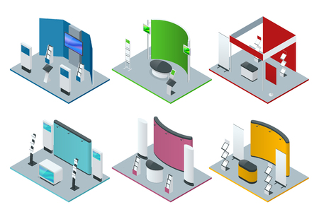 Isometric set of promotional stands or exhibition stands including display desks shelves and handout