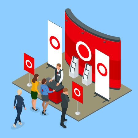 Isometrische Werbe- oder Ausstellungsstände, einschließlich Verkaufsregale und Personen mit Produkten und Handzettel
