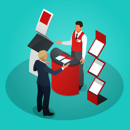 Isometric promotional stands or exhibition stands vector illustration Stock Illustratie