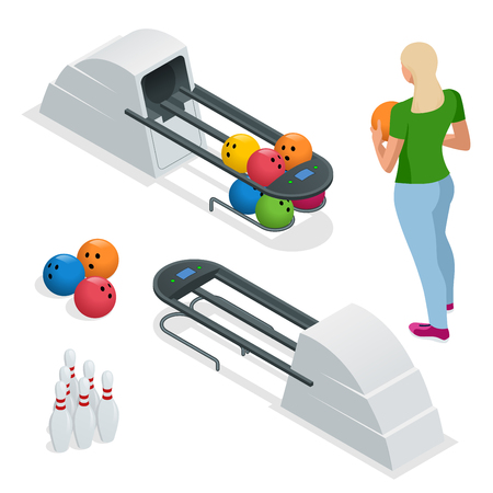 Isometric Bowling pins at bowling machine. A bowling ball return right out of a bowling alley. Vector illustration isolated on white.
