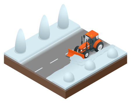 Isometric bulldozer cleans from the road old snow. Vector illustration of snowblower Illustration