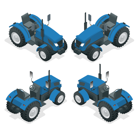 Isometric Tractor works in a field. Agriculture machinery. Plowing in the field. Heavy agricultural machinery for fieldwork. Vector illustration.