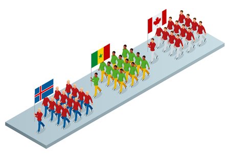The opening ceremony concept. Carrying out the flag of Iceland, Cameroon and Canada, . International sports competitions.