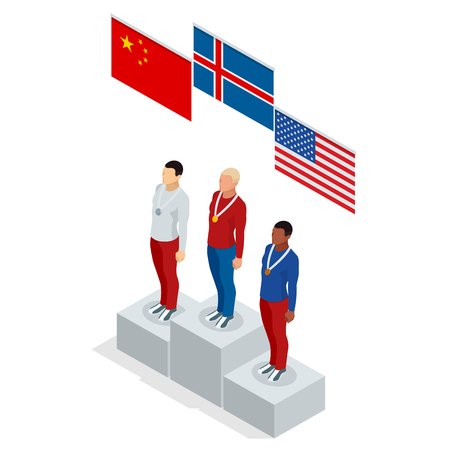 Podium stand isometric sports man winner athlete Athletic Podium. Three men on place pedestal, first place rising hand with gold cup. International sports competitions. Stock Vector - 94453672