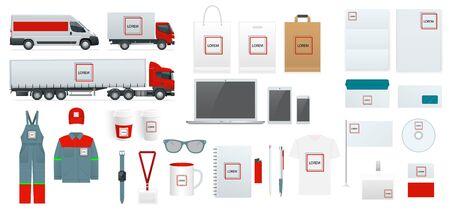 Conjunto de modelo de identidade corporativa. Design de branding. Modelo em branco e branco. Mock-up de papelaria de negócios. Para apresentações e portfólios de designers gráficos.