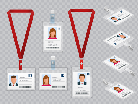 Set of Employees Identification White Blank Plastic Id Cards with Clasp and Lanyards Isolated Vector Illustration Imagens - 94654557