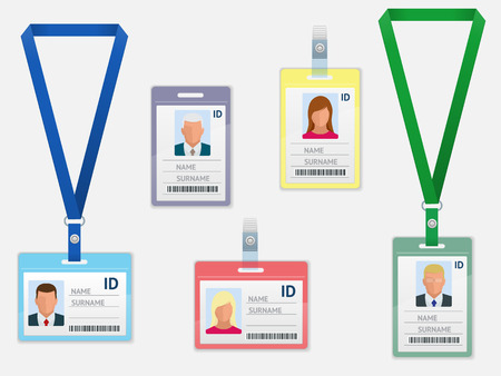 Set of Employees Identification White Blank Plastic Id Cards with Clasp and Lanyards Isolated  イラスト・ベクター素材