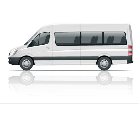 Realistic White Van template Isolated passenger mini bus for corporate identity and advertising. View from side.