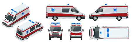 Ambulance Car. An emergency medical service, administering emergency care to those with acute medical problems. Illustration