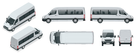 Realistic set of Van template Isolated passenger minibus for corporate identity and advertising.