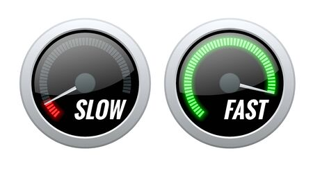 Credit Score Indicator or Fast and Slow Download Speedometers. Vector illustration.