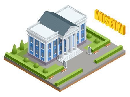 Bâtiment de l'administration publique de l'architecture de la ville. Bâtiment du musée isométrique. Extérieur du bâtiment du musée avec titre et colonnes.