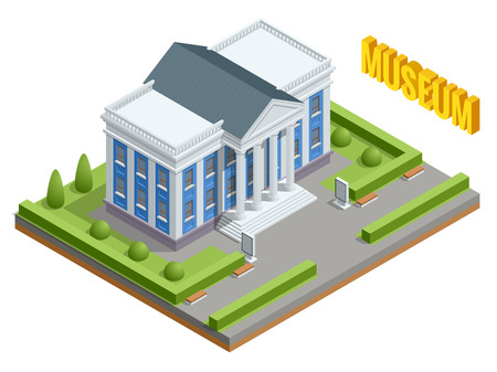 City architecture public government building. Isometric museum building. Exterior of Museum building with title and columns.