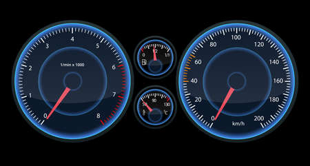 Car speedometer panel. View at night on the panel. Futuristic speedometer for infographic and design. Illustration