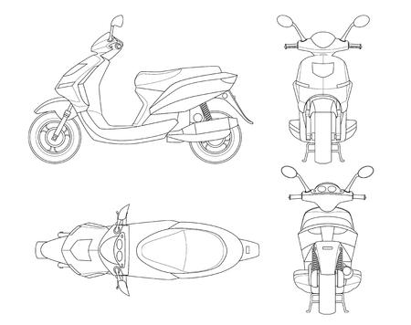 Modischer Rollerentwurf lokalisiert auf weißem Hintergrund. Isolierte Motorrad-Vorlage für Moped, Motorrad-Branding und Werbung. Blick von der Seite, vorne, hinten, oben
