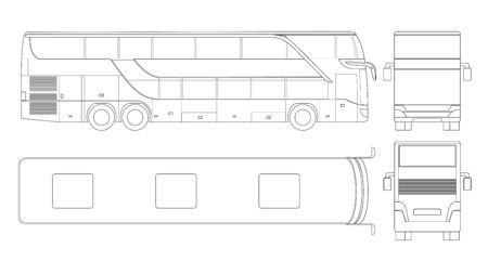 Double-deck multi-axle luxury touring coach. Commercial vehicle. Intercity bus vector illustration 向量圖像