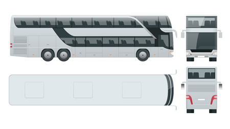 Double-deck multi-axle luxury touring bus. Commercial vehicle intercity bus vector illustration.