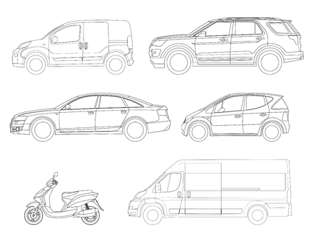 Set of outline vector icons cars. View to the side city transport. Illustration