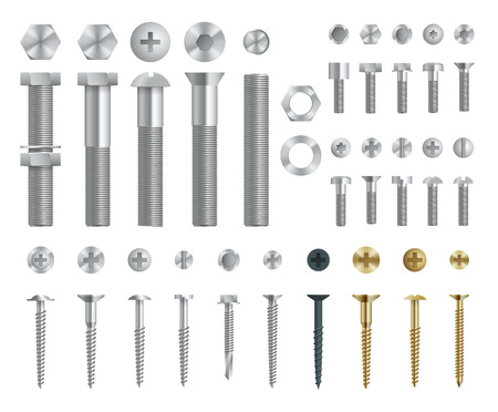 Set of Steel Screws, Bolts, Nuts and Rivets. Top and Side View. Isolated Vector Elements.  イラスト・ベクター素材