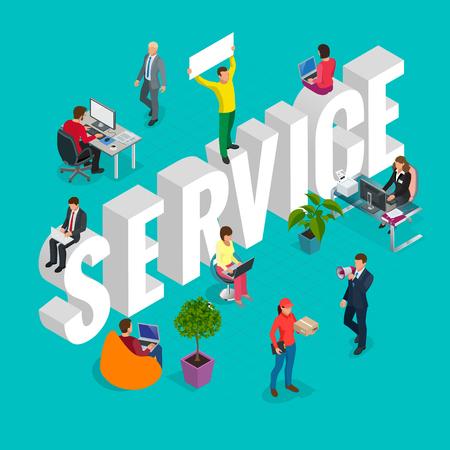 Concept de service à la clientèle isométrique. Groupe de services de conférence divers. Hommes d'affaires.