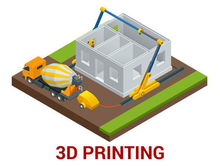 Vector isometric 3d printing house concept. Concrete mixer truck in the side of industrial 3D printer which printing house. Flat illustration