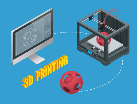 New generation of 3D Printing Machine printing a model of plastic.