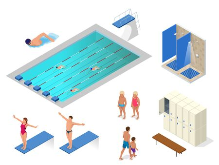 Isometric vector set of swimming pool, swimmers, showers in the gym, locker and changing room elements icons.