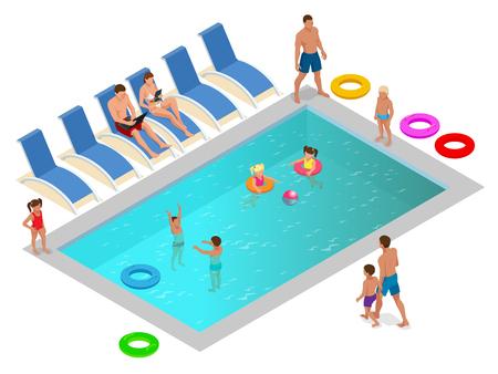 Familia isométrica disfrutando de las vacaciones de verano en concepto de piscina de lujo. Ilustración vectorial
