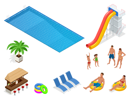 Isometric set icons of Summer water park holiday . Swimming pool and water slides. Vector illustration isolated on white background