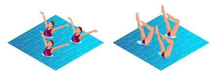 Isometric womans athlete on the performance of synchronized swimming performing art elements. Swimming sportswoman, swimmer team, water dance vector illustration