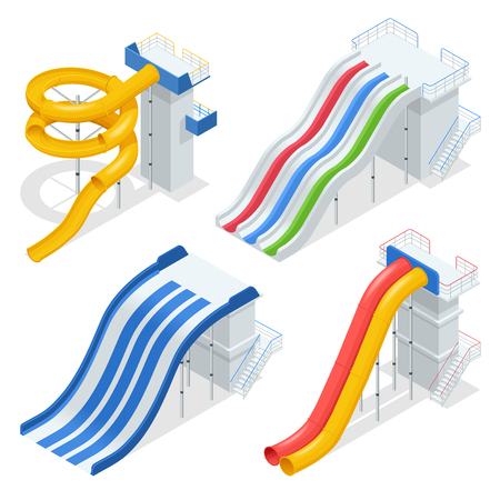 Isometric colorful water slides and tubes, aquapark equipment, set for label design. Swimming pool and water slides Vector illustration isolated on white background.