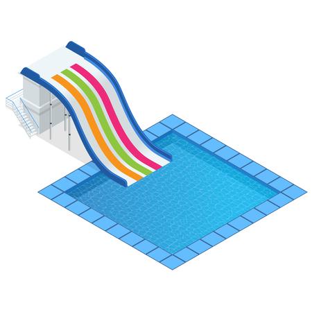 pool splash vector. Isometric Colourful Water Slide With Pool, Aquapark Equipment, Set For Design. Swimming Pool Splash Vector S